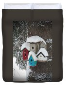 Winter Birdhouses Duvet Cover