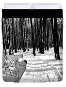 Winter Boardwalk In Black And White Duvet Cover