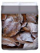 Winter Brown Leaves Powdered With Frost Duvet Cover