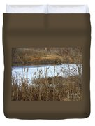 Winter Cattails  Duvet Cover