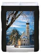 Winter Church In Bavaria Duvet Cover