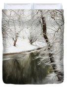 Winter Contemplation Watercolor Painting Duvet Cover