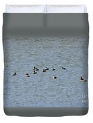 Winter Ducks Swimming Away  Duvet Cover