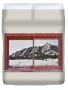 Winter Flatirons Boulder Colorado Red Barn Picture Window Frame  Duvet Cover
