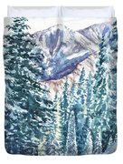 Winter Forest And Mountains Duvet Cover