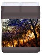Winter Forest Sunset Oil Style Duvet Cover