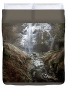 Winter Freeze At Multnomah Falls Duvet Cover