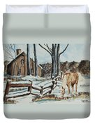 Winter Grazing  Duvet Cover by Charlotte Blanchard