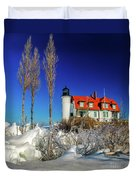 Winter Ice At Point Betsie Duvet Cover