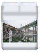 Winter In East Falls Along The Schuylkill River Duvet Cover