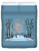 Winter In The City Park Duvet Cover