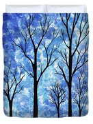 Winter In The Woods Abstract Duvet Cover