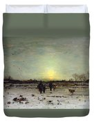 Winter Landscape At Sunset Duvet Cover by Ludwig Munthe