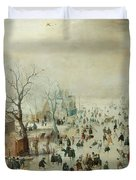 Winter Landscape With Ice Skaters1608 Duvet Cover