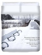 winter landscape with Inspirational Text Duvet Cover