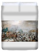 Winter Landscape With Skaters Duvet Cover