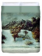 Winter Landscape With The Dents Du Midi Duvet Cover by Gustave Courbet