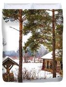 Winter Log Cabin 3 - Paint Duvet Cover