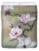 Winter Magnolia Blooms Duvet Cover