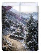 Winter Mountain Path Duvet Cover