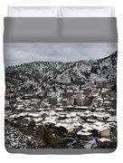 Winter Mountain Village Landscape With Snow Duvet Cover