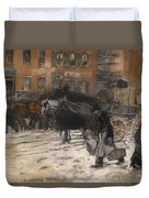 Winter On 21st Street - New York Duvet Cover