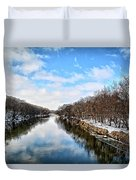 Winter On The Cedar Duvet Cover