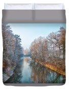 Winter On The River Duvet Cover