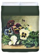 Winter Pansies Duvet Cover