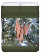 Winter Pine Cones Duvet Cover