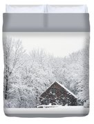 Winter Ride Snowy Pond Duvet Cover