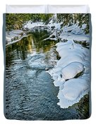Winter River Reflections - Yellowstone Duvet Cover