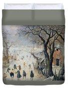Winter Scene Duvet Cover by Hendrik Avercamp