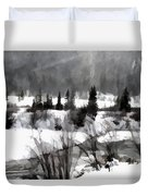 Winter Scene In Black And White Duvet Cover