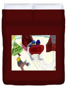 Winter Sleigh Ride Through The Tunnel Duvet Cover