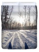 Winter Sport X-country Skis In Sunny Forest Tracks Duvet Cover