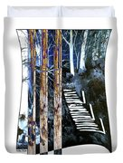 Winter Stairs In Blue Duvet Cover