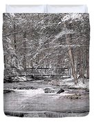 Winter Stream And Woods Duvet Cover
