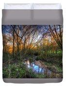 Winter Stream Sunset Duvet Cover