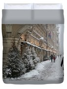 Winter Stroll In Helsinki Duvet Cover