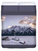 Winter Sunrise Lake Minnewanka Duvet Cover