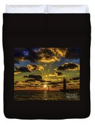 Winter Sunset At Muskegon Channel Light Duvet Cover