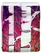 Winter Sunset Birch Duvet Cover