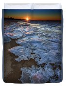 Winter Sunset On Fire Island Duvet Cover