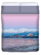 Winter Sunset Over Anchorage, Alaska Duvet Cover