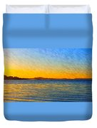 Winter Sunset Over Ipswich Bay Duvet Cover