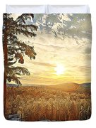 Winter Sunset Over The Mountains Duvet Cover