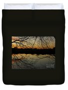 Winter Sunset Reflection Duvet Cover