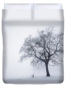 Winter Tree And Bench In Fog Duvet Cover
