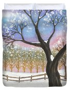 Winter Tree Landscape Duvet Cover